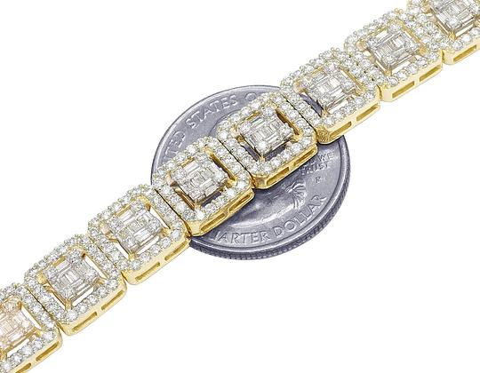 Jewelry Unlimited Two-Tone Gold 10MM Halo Square Baguette Diamond Necklace 19CT 19