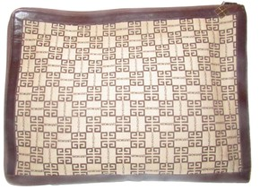 Givenchy Xl Clutch/Laptop Tan/Brown Excellent Vintage Square Rare Unusual beige/brown logo print Clutch