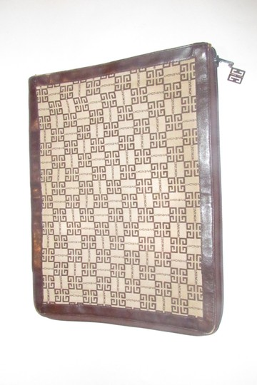 Givenchy Xl Clutch/Laptop Tan/Brown Excellent Vintage Square Rare Unusual beige/brown logo print Clutch Image 2