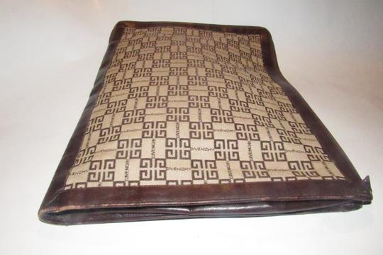 Givenchy Xl Clutch/Laptop Tan/Brown Excellent Vintage Square Rare Unusual beige/brown logo print Clutch Image 3