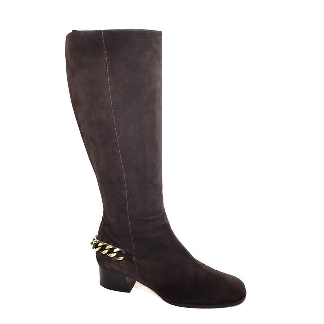 Item - Brown Suede Zip Up Knee High with Gold Chain Boots/Booties Size US 10 Regular (M, B)
