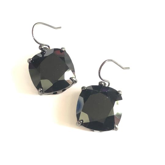 Tory Burch NEW Tory Burch Crystal Stone Drop Earrings Jet Black Hematite Image 0