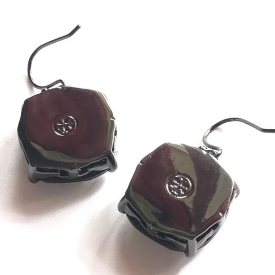 Tory Burch NEW Tory Burch Crystal Stone Drop Earrings Jet Black Hematite Image 1