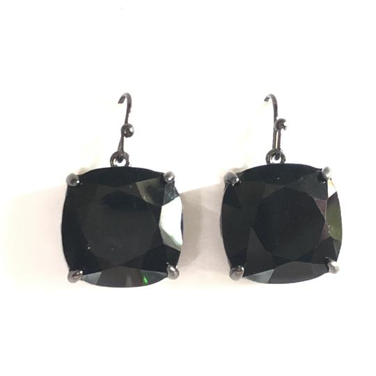Tory Burch NEW Tory Burch Crystal Stone Drop Earrings Jet Black Hematite Image 2