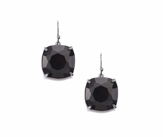 Tory Burch NEW Tory Burch Crystal Stone Drop Earrings Jet Black Hematite Image 4