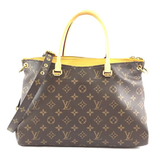 Preload https://img-static.tradesy.com/item/26241808/louis-vuitton-pallas-33443-rare-two-way-satchel-hand-tote-every-day-brown-and-yellow-monogram-canvas-0-0-540-540.jpg