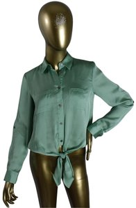 Vince Camuto Designer Sexy Pinup Button Down Shirt Green