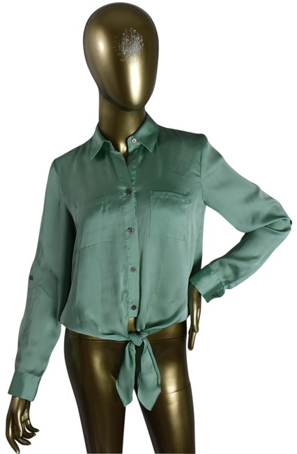 Preload https://img-static.tradesy.com/item/26241839/vince-camuto-green-womens-collared-tie-button-down-top-size-0-xs-0-1-650-650.jpg