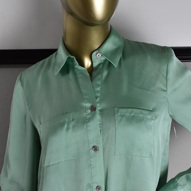 Vince Camuto Designer Sexy Pinup Button Down Shirt Green Image 3