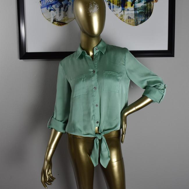 Vince Camuto Designer Sexy Pinup Button Down Shirt Green Image 4