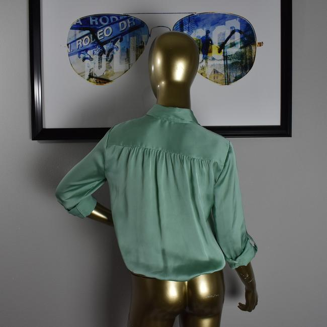 Vince Camuto Designer Sexy Pinup Button Down Shirt Green Image 5