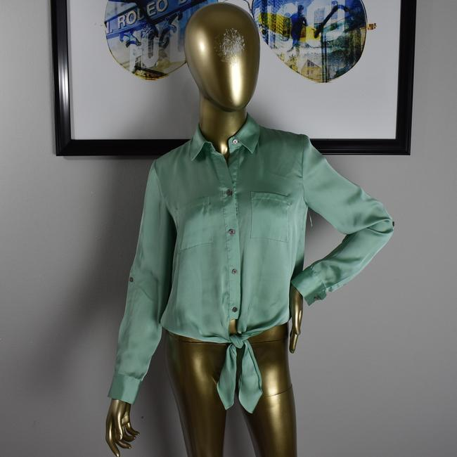 Vince Camuto Designer Sexy Pinup Button Down Shirt Green Image 6
