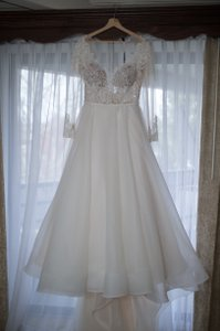 Paloma Blanca Champagne Lace Organdy 4744 Feminine Wedding Dress Size 10 (M)