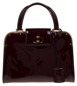 Saint Laurent Patent Leather Satin Tote in Burgundy