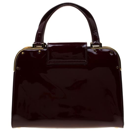 Saint Laurent Patent Leather Satin Tote in Burgundy Image 1
