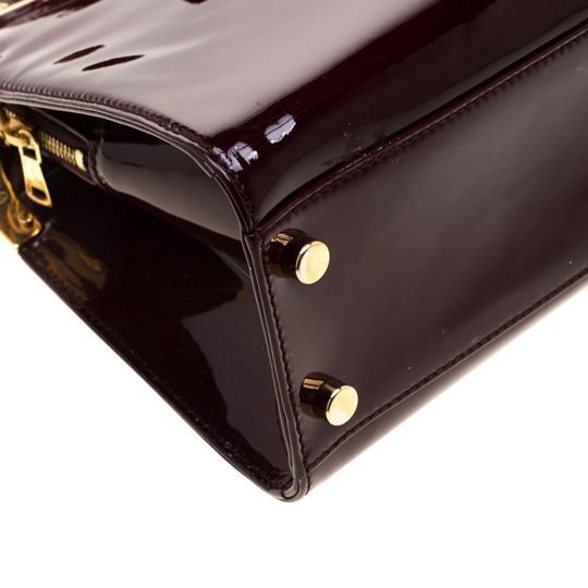 Saint Laurent Patent Leather Satin Tote in Burgundy Image 10