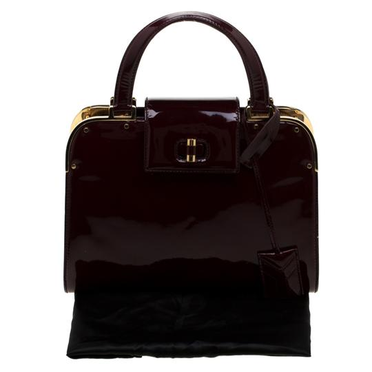 Saint Laurent Patent Leather Satin Tote in Burgundy Image 11