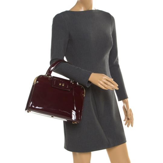 Saint Laurent Patent Leather Satin Tote in Burgundy Image 2