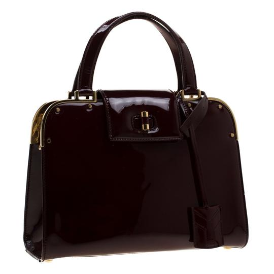 Saint Laurent Patent Leather Satin Tote in Burgundy Image 3