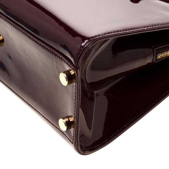 Saint Laurent Patent Leather Satin Tote in Burgundy Image 9