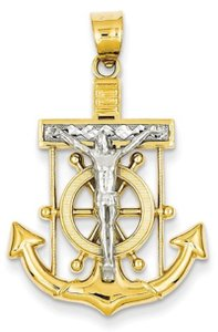 Apples of Gold MARINER CROSS PENDANT, 14K TWO-TONE GOLD