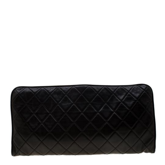 Chanel Leather Satin Logo Black Clutch Image 1