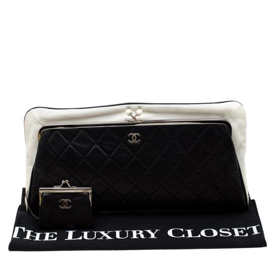 Chanel Leather Satin Logo Black Clutch Image 11
