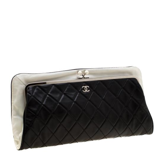 Chanel Leather Satin Logo Black Clutch Image 3
