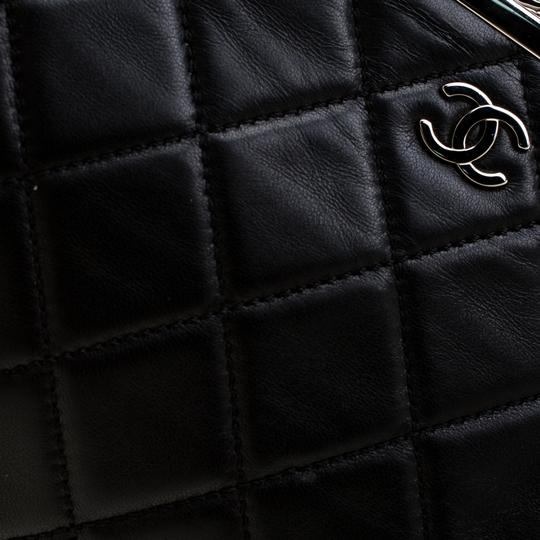 Chanel Leather Satin Logo Black Clutch Image 5