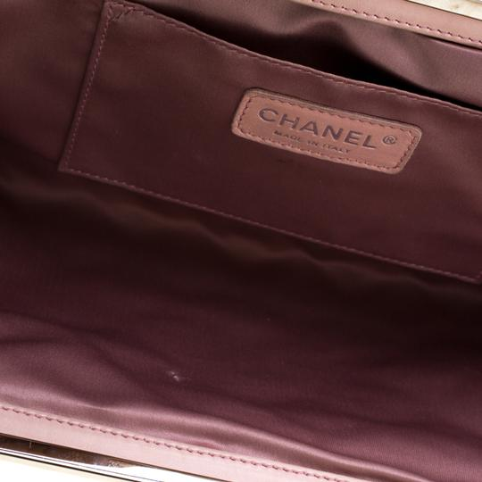 Chanel Leather Satin Logo Black Clutch Image 6