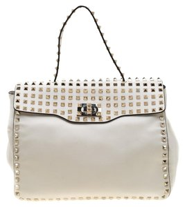 Valentino Leather Canvas Studded Signature Tote in White
