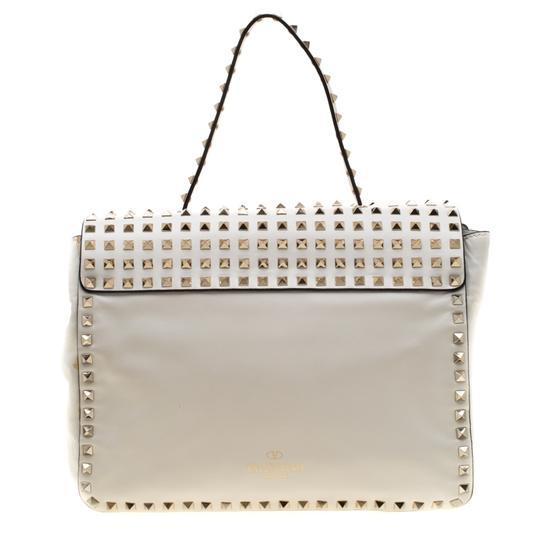 Valentino Leather Canvas Studded Signature Tote in White Image 1