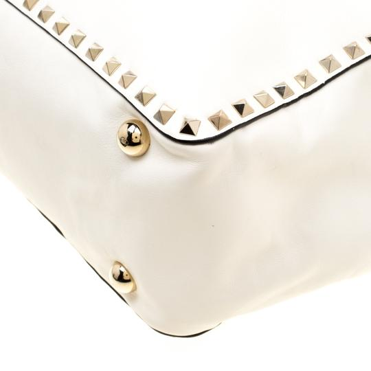 Valentino Leather Canvas Studded Signature Tote in White Image 10