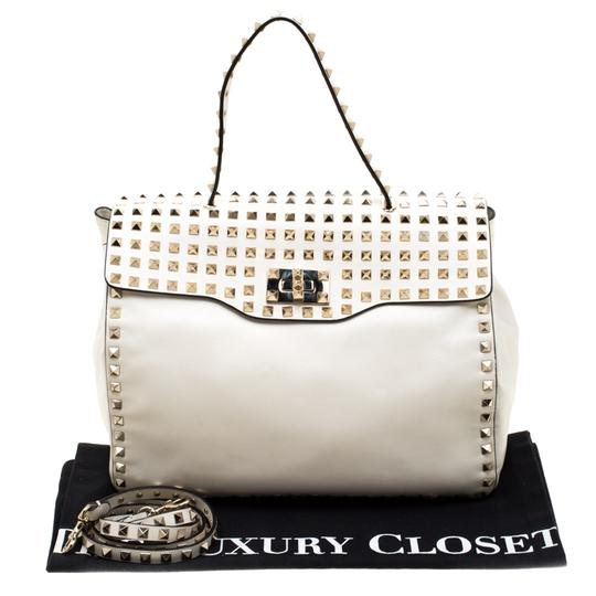 Valentino Leather Canvas Studded Signature Tote in White Image 11