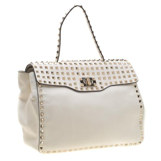 Valentino Leather Canvas Studded Signature Tote in White Image 3