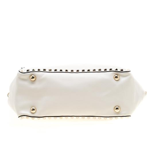 Valentino Leather Canvas Studded Signature Tote in White Image 4