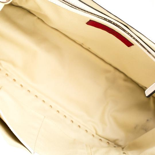 Valentino Leather Canvas Studded Signature Tote in White Image 5