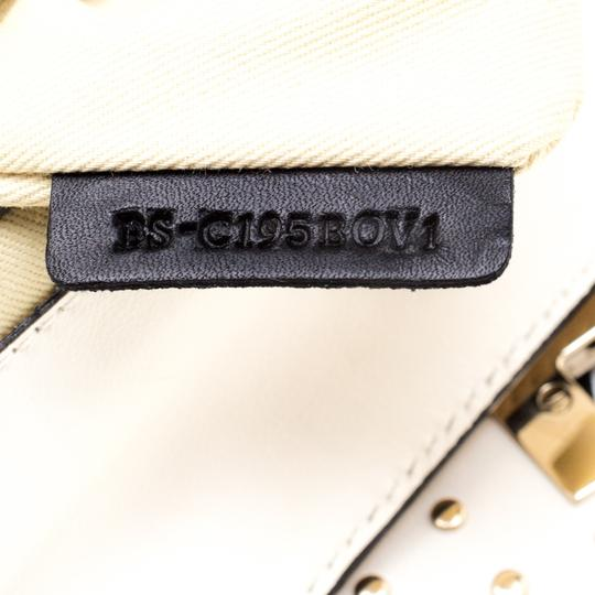 Valentino Leather Canvas Studded Signature Tote in White Image 6