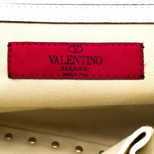 Valentino Leather Canvas Studded Signature Tote in White Image 7