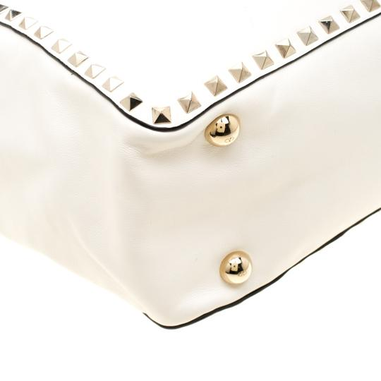 Valentino Leather Canvas Studded Signature Tote in White Image 9