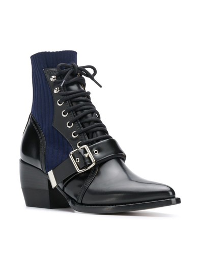 Chloé Chloelovers Sock/Booties Leather Black/blue Boots Image 3