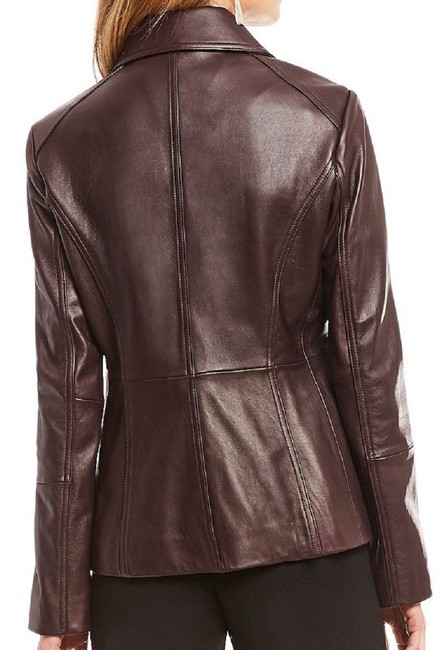 Preston & York Lambskin Fully Lined On-seam Princess Seams 3-button Aubergine Leather Jacket Image 3