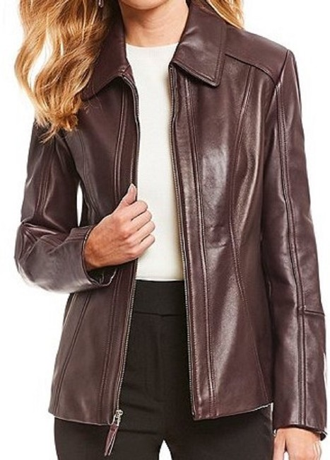 Preston & York Lambskin Fully Lined On-seam Princess Seams 3-button Aubergine Leather Jacket Image 4