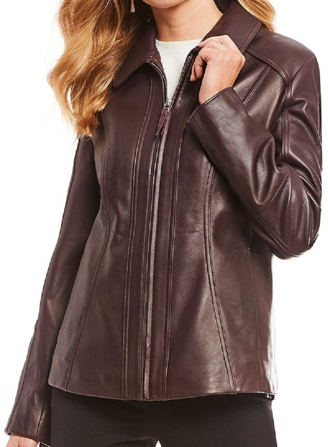 Preston & York Lambskin Fully Lined On-seam Princess Seams 3-button Aubergine Leather Jacket Image 5