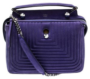 Fendi Leather Suede Quilted Purple Clutch