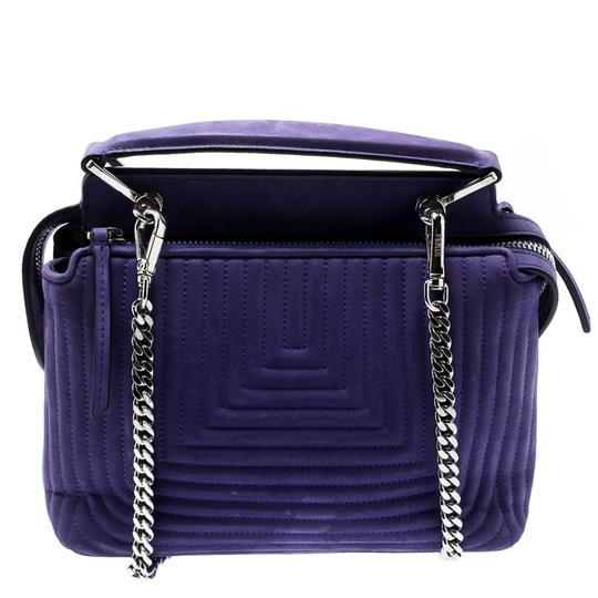 Fendi Leather Suede Quilted Purple Clutch Image 1