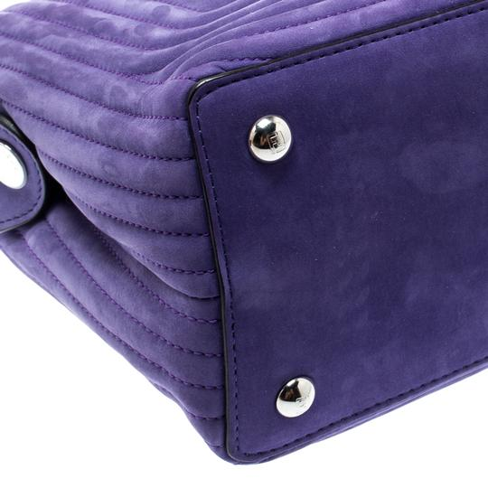 Fendi Leather Suede Quilted Purple Clutch Image 10