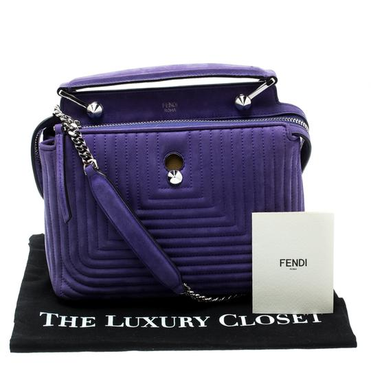 Fendi Leather Suede Quilted Purple Clutch Image 11