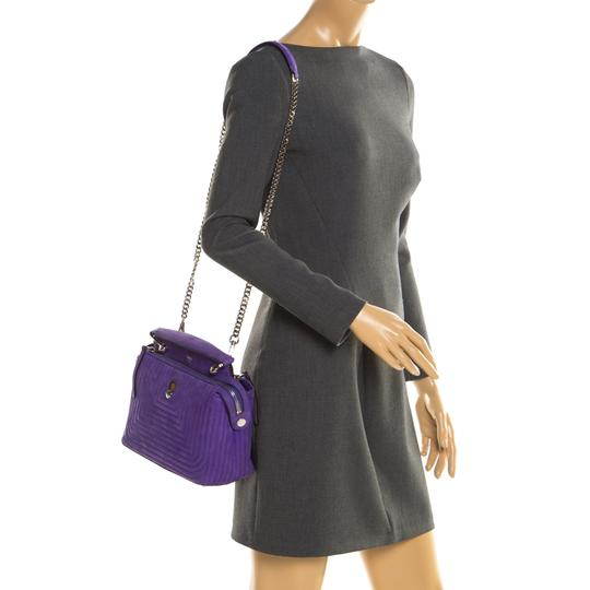 Fendi Leather Suede Quilted Purple Clutch Image 2