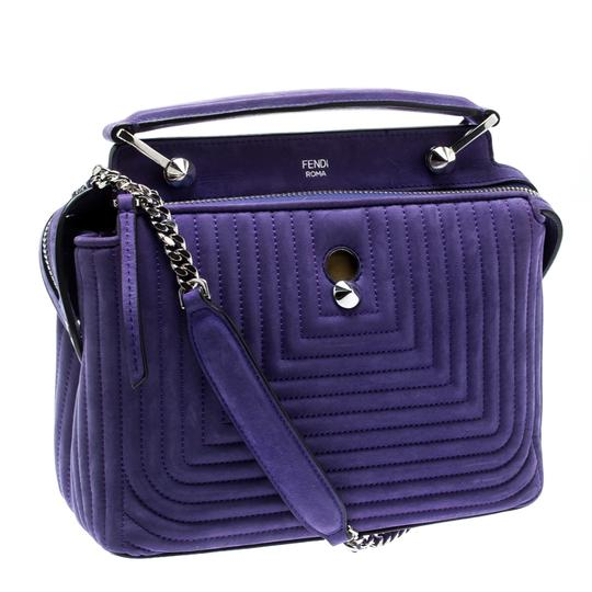 Fendi Leather Suede Quilted Purple Clutch Image 3